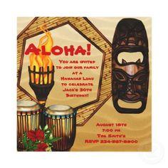 Partido havaiano de Luau da festa de anos de Luau Convites Personalizado por InvitationCentral