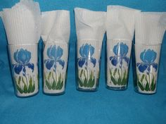 Blue iris glasses (with napkins within) by Anchor Hocking.
