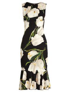 Dolce & Gabbana Tulip-print stretch-silk charmeuse dress