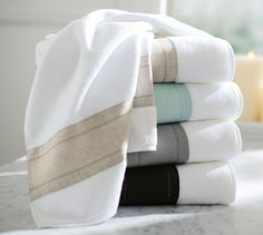 Linen Banded Bath Towels | Pottery Barn