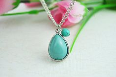 Turquoise pendant necklace silver hollow by Evanworld on Etsy, $5.99 Fashion charm handmade personalized bracelet, the best gift.