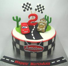 Cars Lightning McQueen and Mater Boys 2nd Birthday cake  by www.carryscakes.com.au 2 Birthday Cake, Happy Birthday, Lightning Mcqueen, Boys, Desserts, Cars, Hot Wheels Party, Birthday, Happy Brithday