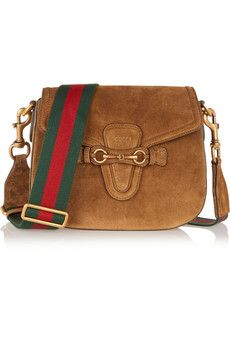 Gucci Lady Web medium suede shoulder bag | NET-A-PORTER