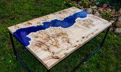 Live edge river blue epoxy coffee table