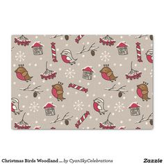 Christmas Birds Woodland 'Home For The Holidays' Tissue Paper @zazzle