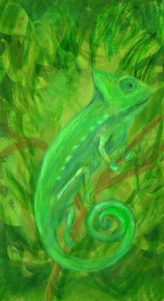 Find green chameleon :) My first painting on wacom inspiron :D