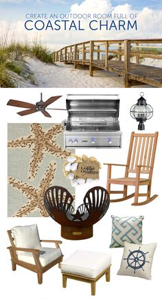 Creating coastal charm on your patio - Layer shades of blue. Include coastal textures like wood seating, nautical rope, woven seagrasses and oiled metal lighting fixtures. Top off the look with an accent piece featuring a classic coastal icon: a starfish rug, a seashell fire pit or a ship's wheel throw pillow.