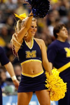 Michigan Wolverines cheerleaders performs at the game against the South Dakota State Jackrabbits. #NCAA #marchmadness