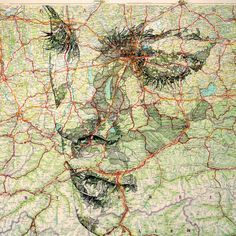 Image credit: Ed Fairburn a whole series of faces on mapping paper of a variety of types