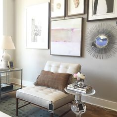 Loving how this gallery wall turned out in the showroom. A perfect backdrop for one of our favorite chairs.  Don't forget that #TheVeryBestSale is still here - 20% off all furniture until Saturday! by alicelanehome