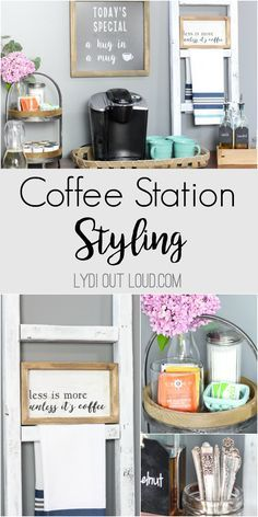 Beautiful coffee station and coffee bar styling ideas. Decor, Farm House Living Room, Room Design, Cute Dorm Rooms, Coffee Station, Beautiful Coffee, Home Decor, Outdoor Shower Fixtures, Living Room Designs