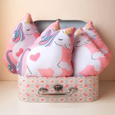 Unicorn shaped small decorative cushion pillow  by AdelaydeArt