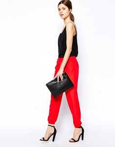 Image 1 of ASOS Trousers with Elastic Ankle Detail