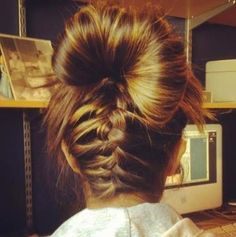 back plait with messy bun