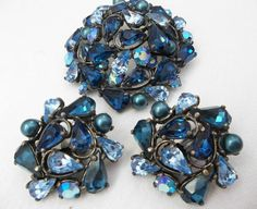Schiaparelli Blue Stone Brooch & Earrings Set Vintage Costume Jewelry Signed | eBay