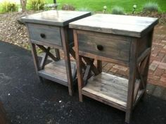 Reclaimed wood DIY nightstands X country pine free plans by ANA-WHITE.com rustic easy to build