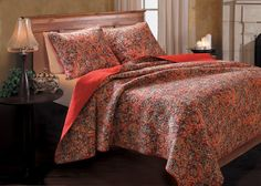 Greenland Home Fashions Persian Quilt Set - Features fern branches and lotus blossoms reversing to Rococco red. Pre-washed and preshrunk 100% cotton.