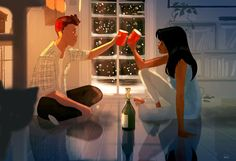 Love Is All You Need. 40 Romantic Digital Illustrations by Pascal Campion - Love Is All You Need. 40 Romantic Digital Illustrations by Pascal Campion - Illustration Art Nouveau, Couple Illustration, Animal Illustrations, Manga Illustration, Character Illustration, Image Couple, Couple Art, Coffee Draw, Pascal Campion