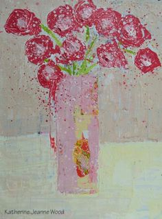 Acrylic Still Life Painting Pink Flowers Cottage Chic Mixed Media Collage Art Impasto Abstract Bouquet Fine Art Home Wall Decor No 98