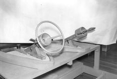 Lincoln Futura: wooden model of dash and steering wheel at Ghia factory in Torino