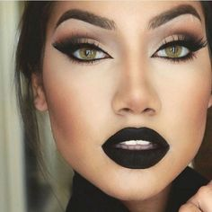 Black Eyeshadow And Matte Lipstick ❤ liked on Polyvore featuring beauty products, makeup, lip makeup, lipstick, lips, beauty, eyes and models