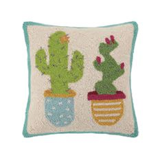 Potted Cacti Hook Pillow by Peking Handicraft Cacti, Handicraft, Succulents, Throw Pillows, Cactus Plants, Craft, Toss Pillows, Cushions, Arts And Crafts