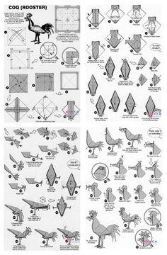 Origami Rooster, Origami Bird, Origami Folding, Origami Animals, Origami And Kirigami, Paper Crafts Origami, Diy Origami, Origami Instructions, Origami Tutorial