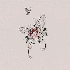 Butterfly With Flowers Tattoo, Butterfly Wrist Tattoo, Butterfly Tattoos For Women, Wrist Tattoos For Women, Butterfly Tattoo Designs, Tattoos For Women Small, Small Tattoos, Vintage Butterfly Tattoo, Lilly Flower Tattoo