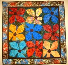 Handcrafted Batik Quilt Wall Hanging Floral by wondermentquilts, $750.00