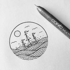 Sinking inspired by @kimbeckerdesign #ship #sinkingship #fineliner #drawing…