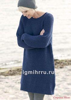 . Теплое платье-туника, связанное полупатентной резинкой