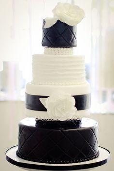 Elegant Black & White Wedding Cake w/Sugar Flowers, Pearls & Quilting