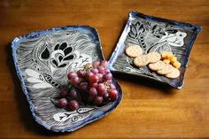 Whimsical sgraffito pottery platters by Gypsy Sisters Studio