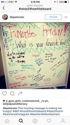 this would be fun to do every Friday with a new fave each time. Journal Topics, Journal Prompts, Morning Activities, Daily Writing Prompts, Bell Work, Responsive Classroom, Classroom Community, Morning Messages, School Counseling