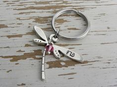 Fly dragonfly metal stamped key chain  by WhisperingMetalworks