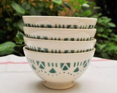 French bowl - Vintage french cafe au lait bowl off-white and green bowl marked Luneville France - Soup bowl - Shabby chic decor