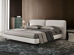 DOUBLE BED WITH UPHOLSTERED HEADBOARD TATLIN-COVER BY MINOTTI