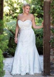 Strapless A-line Chapel Train Ivory Lace Wedding Dress