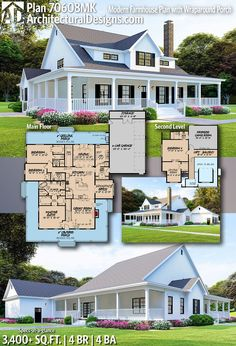 Modern Farmhouse Plan with Wraparound Porch Architectural Designs Farmhouse Plan gives you 4 bedrooms, 4 baths and sq.Architectural Designs Farmhouse Plan gives you 4 bedrooms, 4 baths and sq. Modern Farmhouse Plans, Country Farmhouse Decor, Country House Plans, New House Plans, Dream House Plans, Farmhouse Style, Country Houses, Farmhouse House Plans, Home Floor Plans