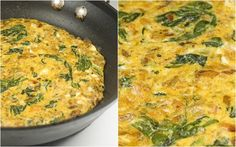 Salmon-Spinach-Feta Frittata   I add sauteed peppers and mushrooms... and then bake in the oven for 30 min at 350 degrees.  Sept. 29 2012