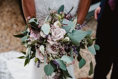 Lilac Rose & Eucalyptus Romantic Bouquet | Rustic Wedding at Stone Barn in the Cotswolds | Claire Pettibone Wedding Dress | Navy Bridesmaid Dresses | Lilac Flowers | Giant Lightbox Dance Floor Sign | Frankee Victoria Photography