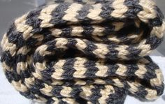 Chunky knitted scarf gray and cream scarf hand by CherylsKnits, $25.00  Price change!!!