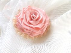 Cream rose Jewelry brooch flower light pink rose by LidiaAndVary