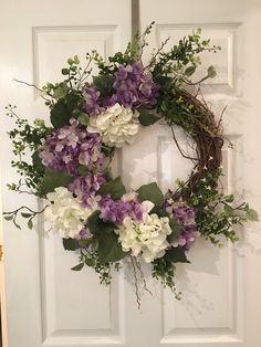 Hydrangea wreath, purple and white hydrangea wreath, spring/summer grapevine wre. : Hydrangea wreath, purple and white hydrangea wreath, spring/summer grapevine wreath Wreath Crafts, Diy Wreath, Grapevine Wreath, Wreath Ideas, Wreath Making, Front Door Decor, Wreaths For Front Door, Easter Wreaths, Holiday Wreaths