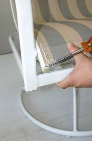 """How-to repairs for your outdoor patio chairs and chaises--click the image above to go to our PDF download for """"How to Install Patio Chair Slings"""" instructions from Chair Care Patio Furniture Repair."""