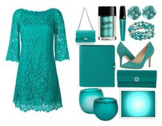 """Teal on Teal"" by sofipisarova ❤ liked on Polyvore featuring Dolce&Gabbana, NYX, Lancôme, Tory Burch, Nine West and Barclay Butera"