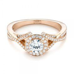 Custom Rose Gold and Diamond Halo Engagement Ring  Joseph Jewelry | Bellevue | Seattle | Designers of Fine Custom Jewelry