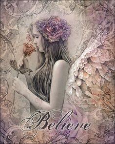 "BELIEVE inspirational faith Victorian vintage angel with rose art print, 8"" x 10"""