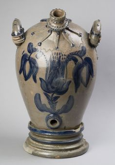 Water Cooler on Stand Made by Solomon Bell, American, 1817 - 1882 Geography: Made in Strasburg, Shenandoah County, Virginia Antique Crocks, Old Crocks, Stoneware Crocks, Antique Stoneware, Glazes For Pottery, Glazed Pottery, Antique Bottles, Vintage Tins, Vintage Pottery