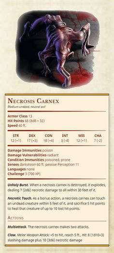 Necrosis Carnex Medium undead, neutral evil Armor Class 13 Hit Points 68 (8d8 + 32) Speed 40 ft. Str 12 Dex 17 Con 18 Int 3 Wis 12 Cha 7 Damage Immunities poison Damage Vulnerabilities radiant Condition Immunities poisoned, prone Senses darkvision 60...